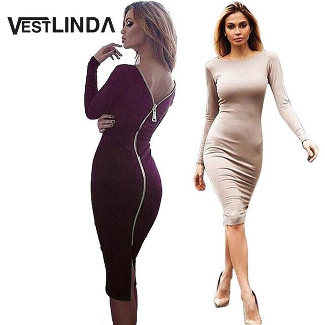 Vestlinda artı boyutu bornoz seksi femme midi kılıf bodycon dress uzun kollu zarif elbiseler kadınlar geri fermuar kalem sıkı dress