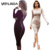 Vestlinda más tamaño bata sexy femme midi vaina bodycon dress de manga larga vestidos elegantes mujeres back zipper lápiz tight dress