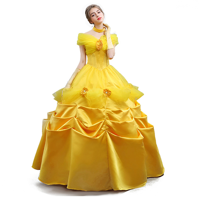 4c1c49445f Beauty And The Beast Costume Adult Princess Costume Belle Cosplay Halloween  Party Ball Gown Beauty Evening
