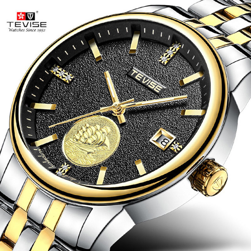 2018 New Tevise Brand Men Mechanical Watch Automatic Date Sailboat Watches Fashion Business Man Waterproof Clock Montre Homme tevise fashion auto date automatic self wind watches stainless steel luxury gold black watch men mechanical t629a with tool