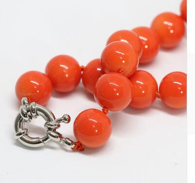 for Women jewelry choker anime gem pink orange artificial coral round beads charms weidding party charms necklace in Chain Necklaces from Jewelry Accessories