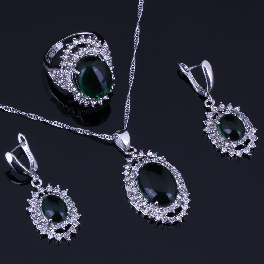 Clean Huge Oval Green Cubic Zirconia White CZ 925 Sterling Silver Jewelry Sets For Women Earrings Pendant Chain Ring V0269