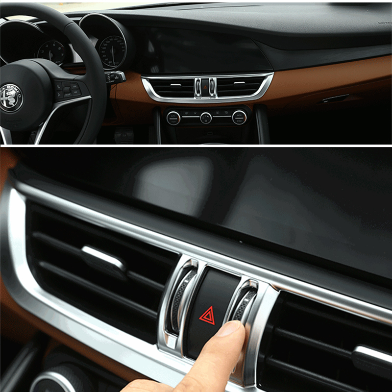 YONGXUN For Alfa Romeo Giulia Interior Trim Accessories Of Chrome Plating  On Decorative Frame Of Central Control Air Outlet  In Automotive Interior  Stickers ...