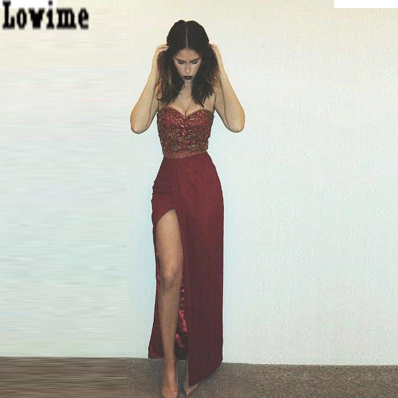 Instagram Fashion Burgundy Evening Dress 2016 Split Long Party Dresses Robe De Soriee In Evening