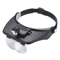 Four Lens Head Wearing Magnifier With Light 1.2X,1.8X,2.5X,3.5X Head Magnifying Glass For Reading Jewelry Watch Repair