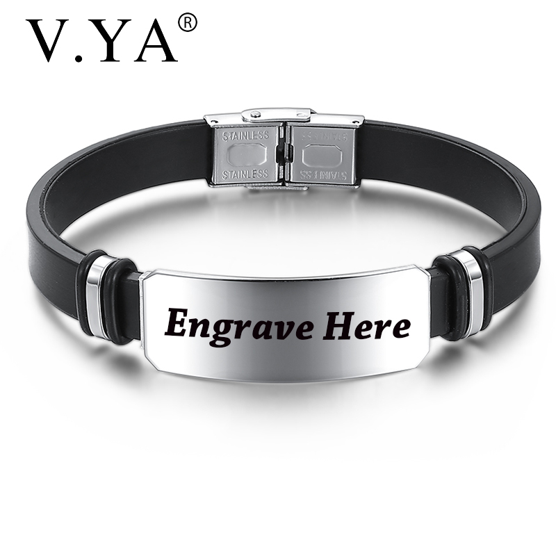 V.YA Laser Engraved Silicone Black Bracelets For Male Trendy Personalized Name Stainless Steel Customized Bangle For Men Gift