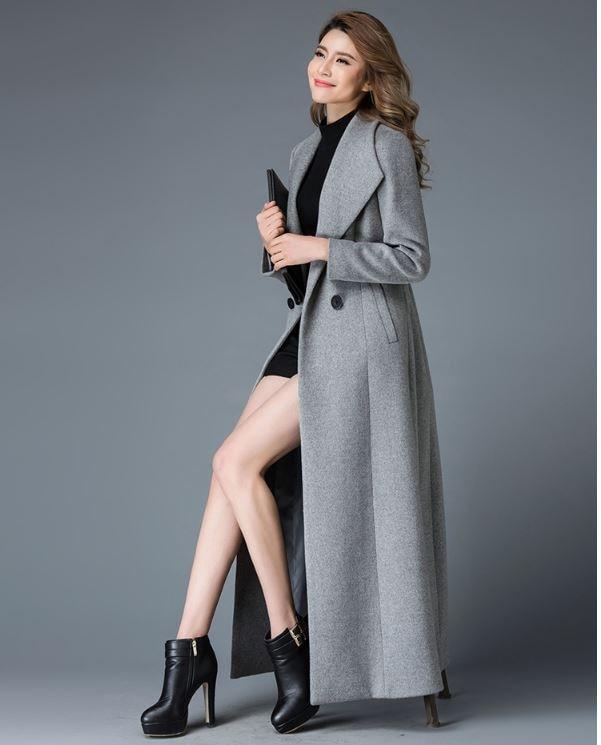 Debout Femmes Design Classique Double Bouton Gamme vert Manteau Noir Haut gris Qualité En De D'hiver 2018 X Laine Col Long xBwZYa7q