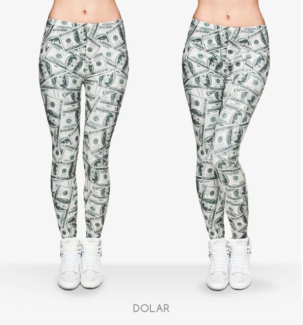 9850bd28e3071d money pants Women Money Dollar Graphic Full Printing Pants Legins Ladies  Legging Stretchy Trousers Slim Fit