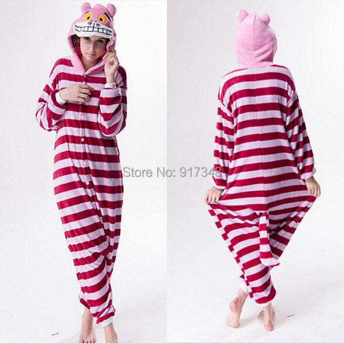 Cartoon zvířat Cosplay Kigurumi Cheshire kočky Onesies Pyžama Jumpsuit Hoodies Dospělí Cos kostým pro Halloween a karneval