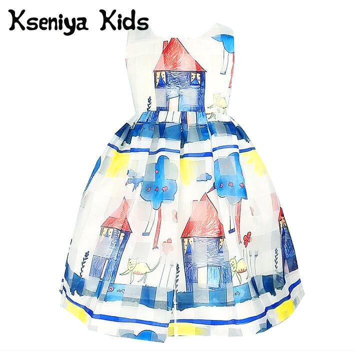 Kseniya Kids 2017 Baby Girl Cute Graffiti Cartoon Summer White Princess Lace Dress Cotton Girls Clothes Designer Casual Dresses