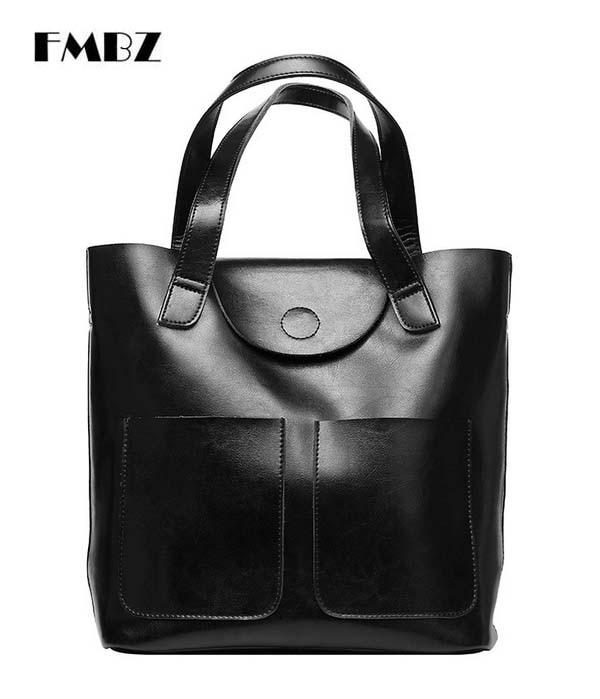 Leather women bag 2018FMBZ new fashion oil wax leather handbag bag casual shoulder bag free shipping