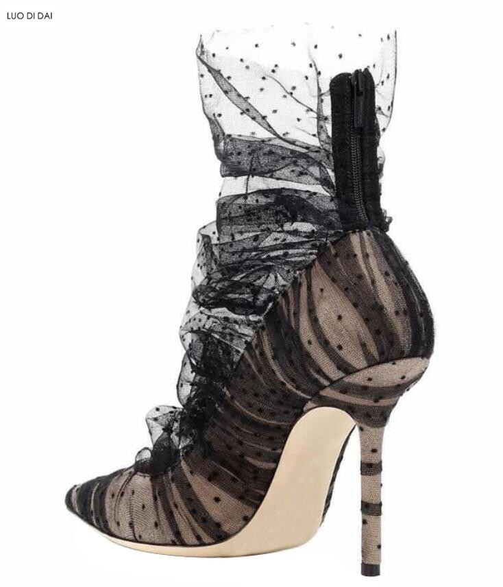 Noir Mujer Chaussons Dentelle Pointu Sexy As Pic Bottines Diamant Chaussures De Mesh Dames Bout 2019 Pic Soirée Botas Femmes Air as Bottes Mode v0wN8nOm