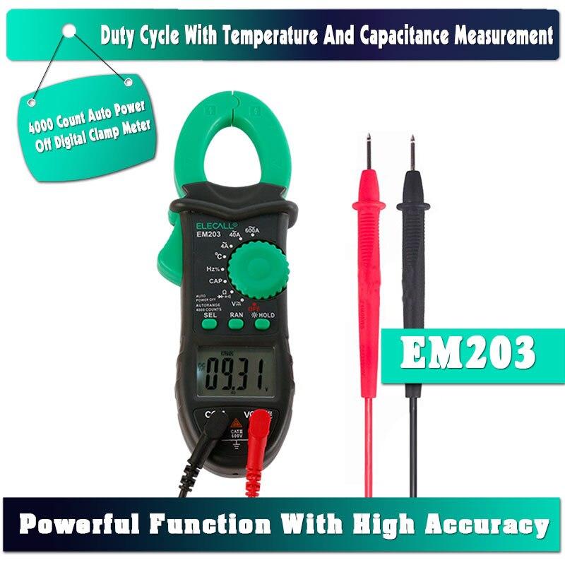 ELECALL EM203 4000 Compte AC/DC Tension Courant Résistance Capacité Fréquence Température Mesure Numérique Pince Multimètre