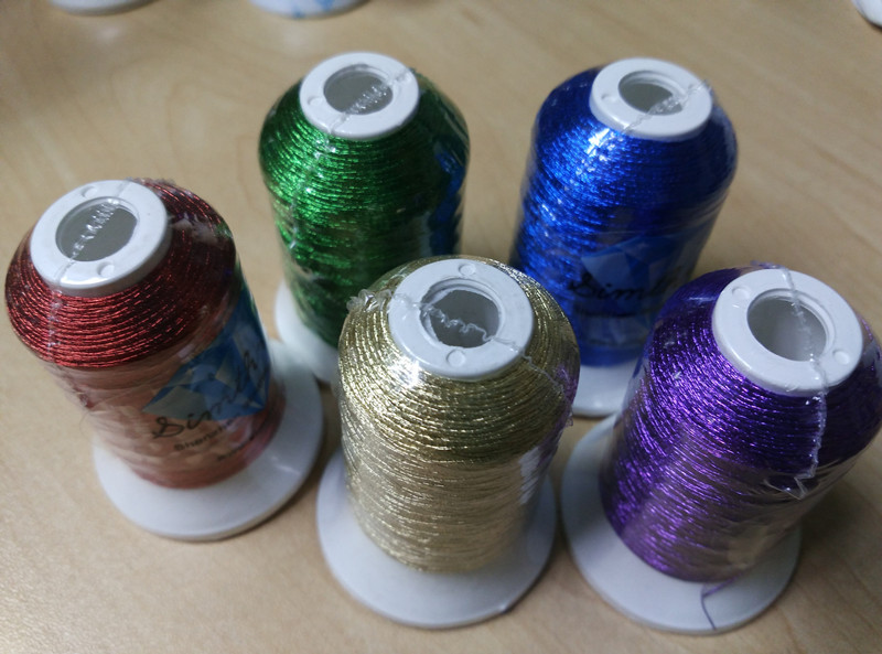 Popular 5 Colors Metallic Embroidery Thread Red / Gold/ Green/ Blue/  Purple Color As Machine /hand Embroidery Threads