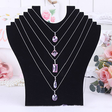 Necklace Bust Jewelry Pendant Chain Display Holder Neck Velvet Stand Easel
