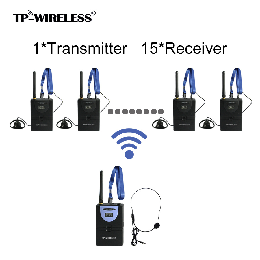 TP WIRELESS Wireless Tour Guide System Audio Guide System for Tour Guiding Church Meeting Simultanous Translation 1 Tx 15 Rx