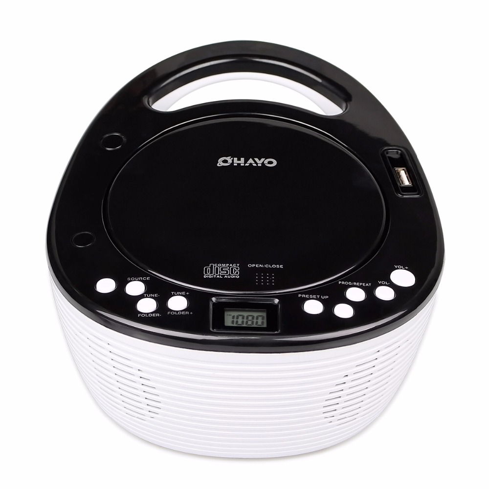 Portable  Player With Dual Speaker USB Music Player FM Stereo Radio 87.5-108MHz CD/CD-R/CD-RW/WMA Format Y4418B stylish portable mp3 music speaker with fm radio sd slot usb host multi color led white