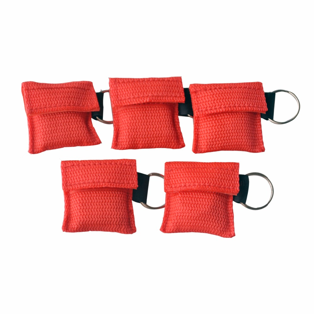 10Pcs/Lot New CPR Resuscitator Mask CPR Face Shield For CPR/AED Emergency Situation Rescue Kit For Health Care Color Red