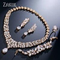 ZAKOL Luxury Cubic Zirconia Women Wedding Jewelry Sets Gold color Flower Jewelry for Women FSSP236