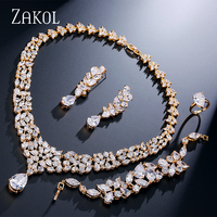 ZAKOL Luxury Cubic Zirconia Women Wedding Jewelry Sets Gold color Flower Jewelry for Women FSSP236