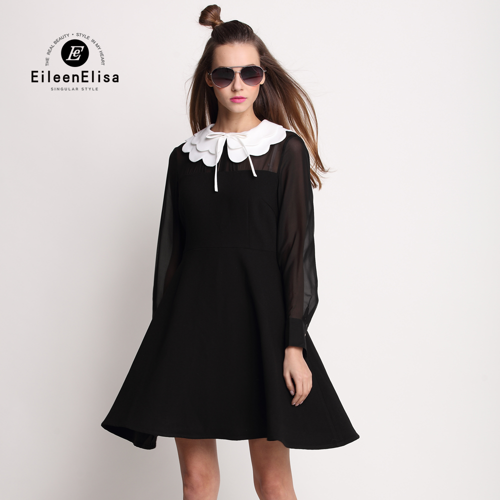 2017 Beautiful Women Dress Solid Color Peter Pan Collar Style High Quality Cute Women Dress