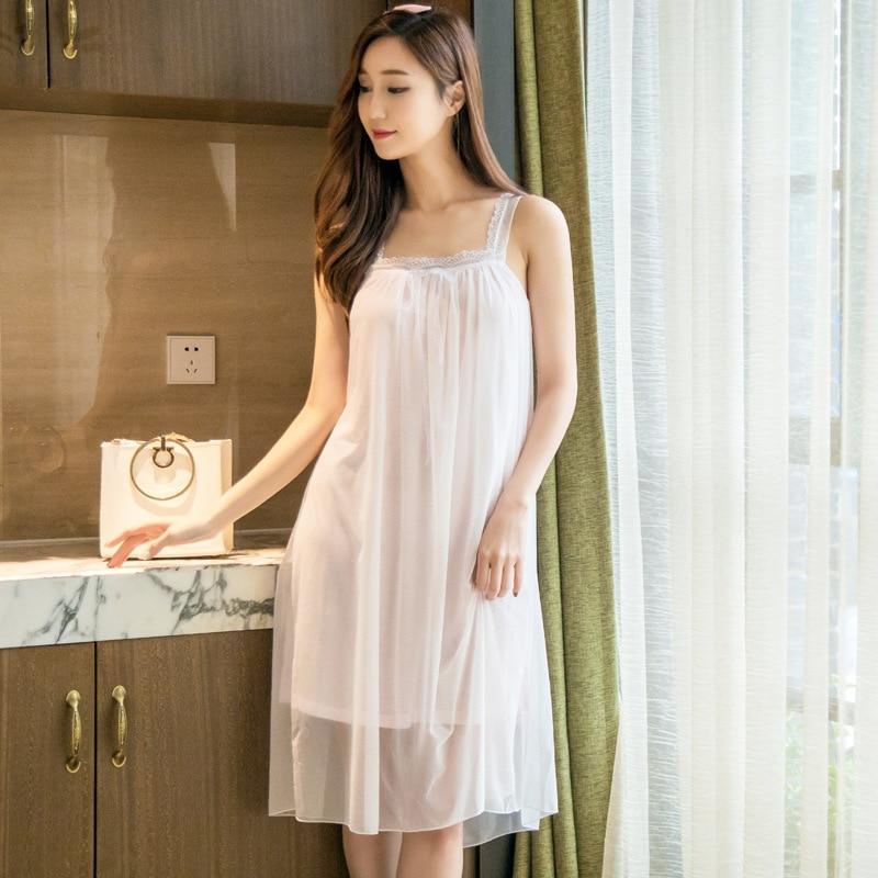2017 frauen Kleider nacht kleid langen weißen nachthemd Chiffon ...