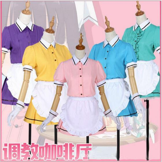 Anime Misto S Costume Cosplay Hinata Kaho/Hideri Kanzaki/Maika Sakuranomiya/Amano Miu/Mafuyu Hoshikawa Cameriera grembiule del Vestito Uniforme