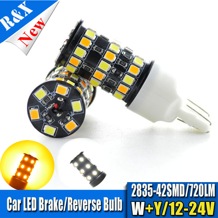 10pcs/Lot High Power T20 7443 White Ambor Dual-Color Switchback 42 SMD LED Turn Signal Brake Backup Lights Bulbs Free Shipping