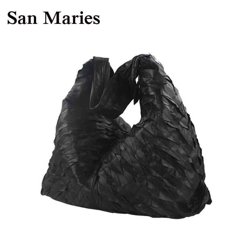 San maries 최고 판매 3 크기!! 2018 양피 호보 디자이너 핸드백 고품질 여성 가방 브랜드 유명 패션 가방-에서탑 핸드백부터 수화물 & 가방 의  그룹 1