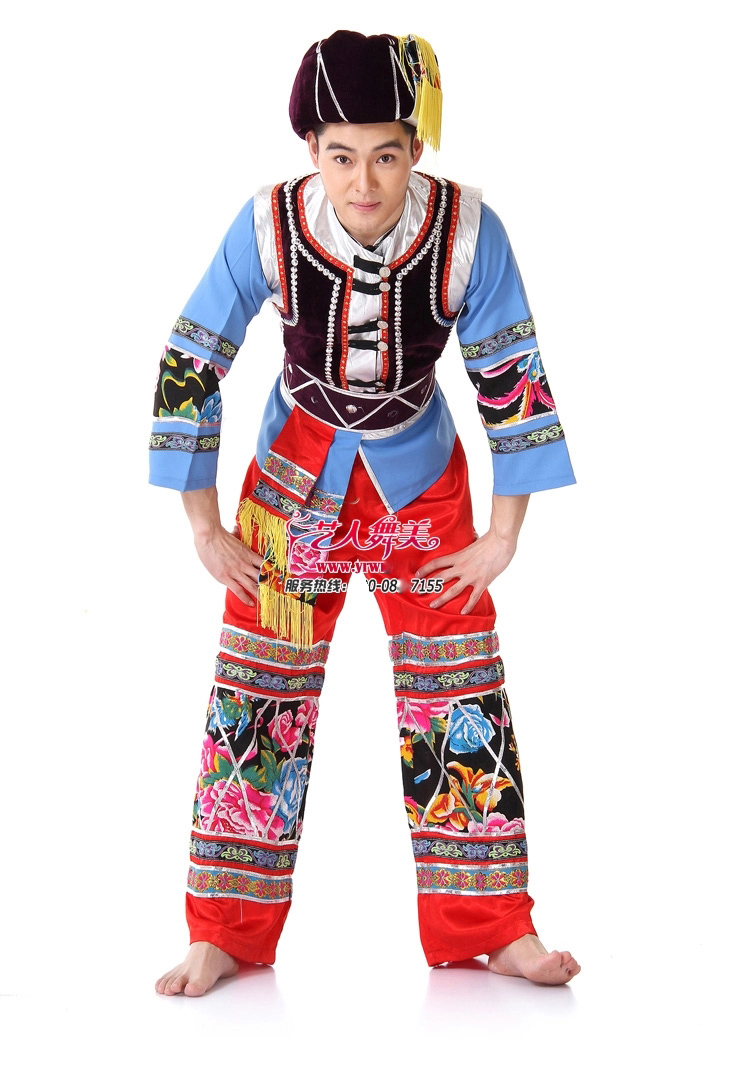 Zzb047 Ethnic Minority Dance Wear Men Miao Ethnic Clothing