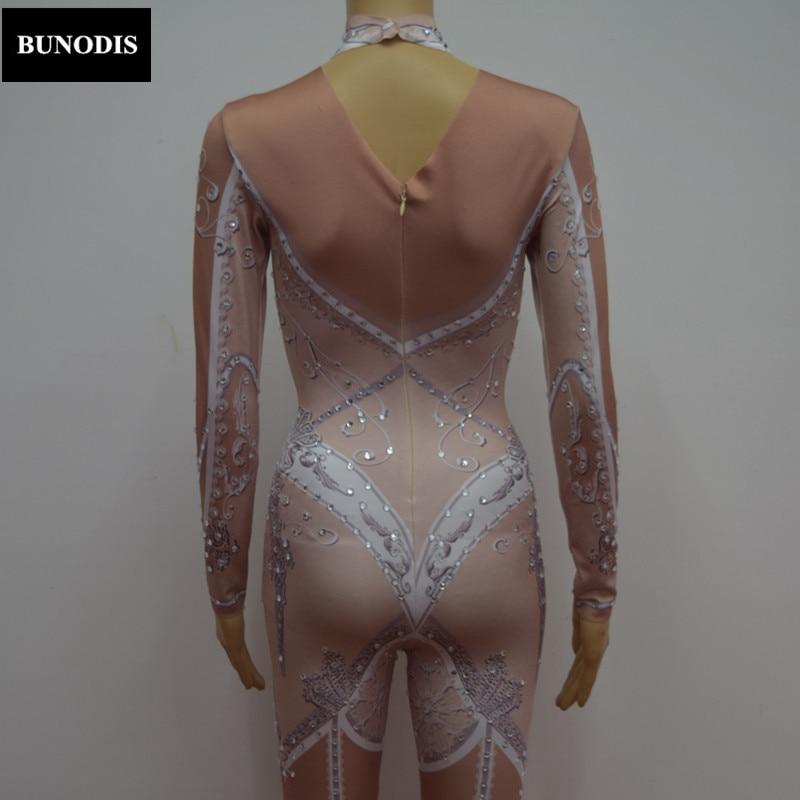 Noël Scène Pierres Spectacle Costumes Cristaux Zd063 Body Rose Mousseux Fille De Discothèque Salopette Célébrer Sexy qxFH0