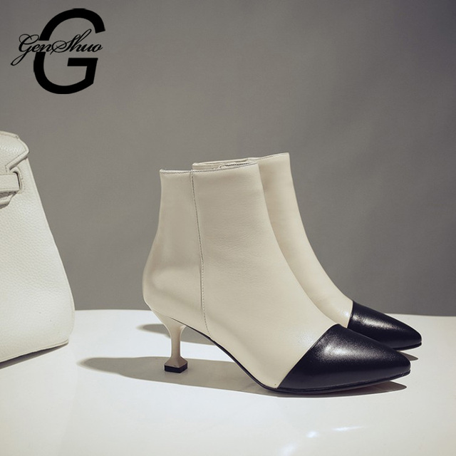 GENSHUO Fashion Ankle Boots For Women Pumps PU Leather Patchwork Office Boots Stiletto Ladies Boots High Heels Shoes Women Pumps