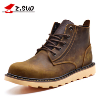 Z Suo Brand 2017 Casual Men Boots Genuine Leather New Fashion Cow Leather Men S Ankle