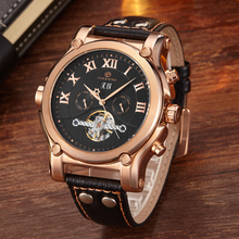 Luxury Top Brand Mens Mechanical Flywheel Design Stainless Steel Analog Date Leather Strap Mens Military Watch Relogio Masculino