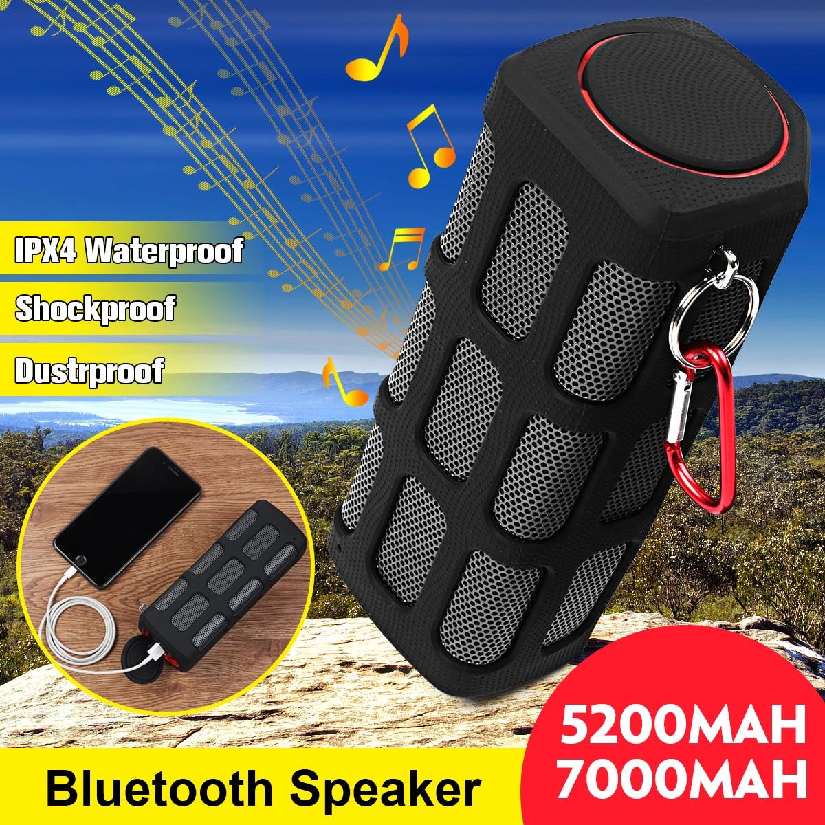 Portátil À Prova de Choque À Prova de Poeira À Prova D' Água Sem Fio Bluetooth Speaker 5200 mAh/Banco do Poder 7000 mAh Esportes Ao Ar Livre Alto-falantes de Graves