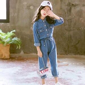 Image 2 - Abesay Denim odzież dziecięca koszula z długim rękawem + spodnie 2 szt. Casual Girls Clothes Set odzież zimowa nastoletnie dziewczyny 6 8 12 rok