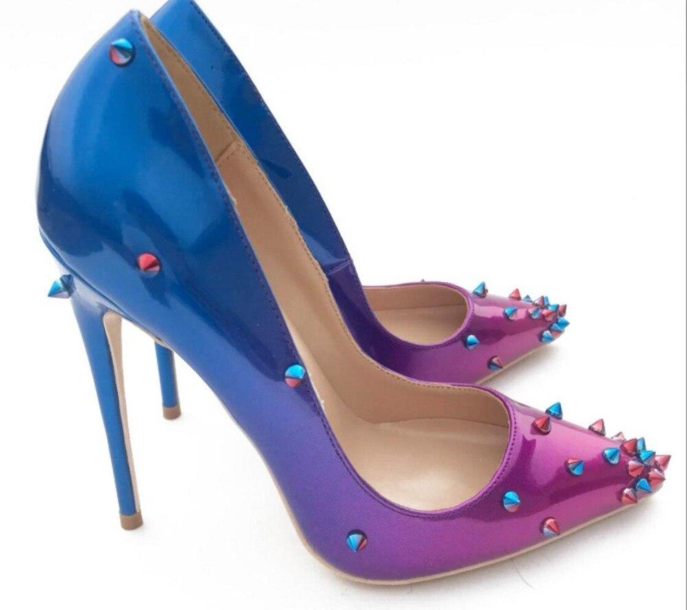 Tacón Nuevo Mujer Fiesta dedo Cuero Azul Puntiagudo Boda 2019 Del 2 Superficial Zapatos Alto 1 Remaches Bombas De Pie qdf1XAw