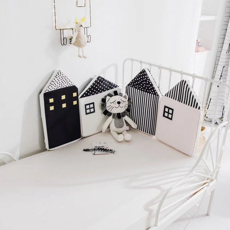 Fashion Style Little House Pattern Baby Bed Bumper Cute Newborn Crib Protection Infant Room Decor Cot Bumper Bedding Set ZT14