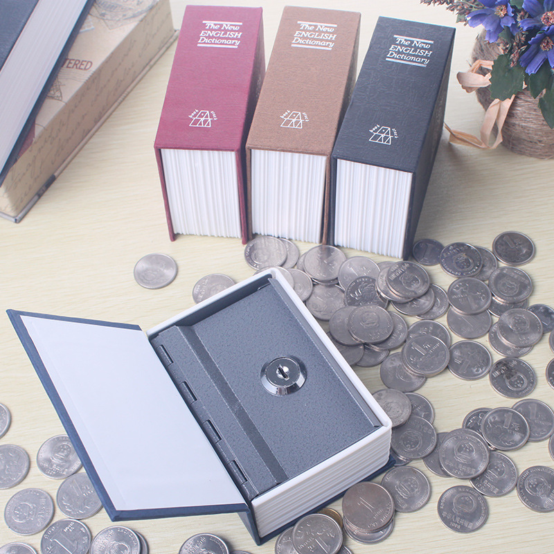 Safe Box Security Secret Stash Key Box Lock Hidden Cash Money Safety Hide Storage Locker Safes Mini Small Safe Book Black