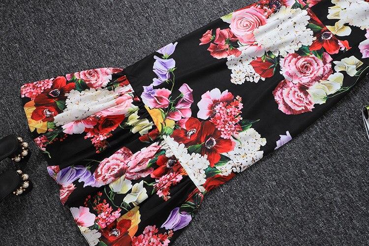 Cou Noir 2019 D'été Floral Femmes Élégant Qyfcioufu De Robe Mode Piste Nouveauté Moulante Longue Imprimé V Sirène qvRfxxtw