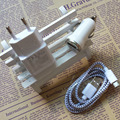 ЕС Plug AC Зарядное Устройство + Авто Зарядное Устройство + Плетеный Micro USB Синхронизация данных Кабель Зарядного Устройства для SamSung Galaxy S2 S4 S Note2 S6