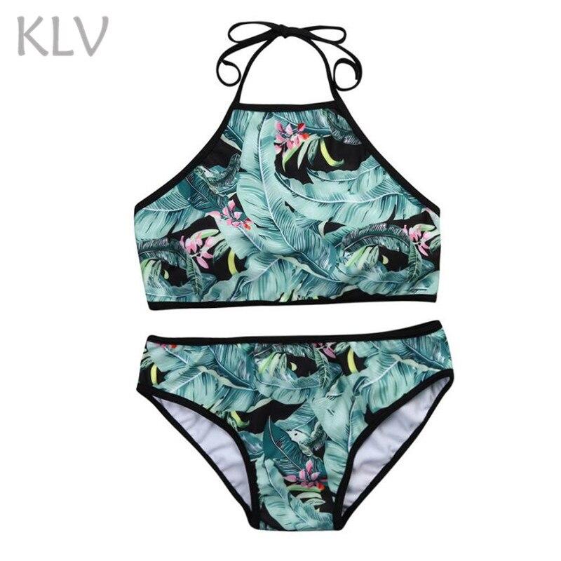 KLV/бикини 2018 push up Мягкий Для женщин купальный костюм женский сексуальный 2 предмета зеленый плавательный костюм с принтом для Для женщин низ...