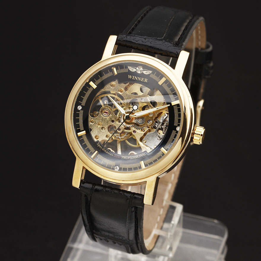 2016 WINNER Hollow Mechanical Hand-Wind Men Women Watches Classic Carving Skeleton Gold Dial Genuine Leather Strap Wrist Watch 2016 winner autoamtic mechanical men watches fashion classic silver case skeletondial real leather strap relogio feminino
