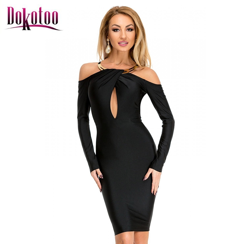 Dokotoo Gold Necklace Accent Black Midi Party Dress LC61368 sexy long sleeve  2017 spring women mini dress party dress vestidos-in Dresses from Women s  ... 49b7770c4988