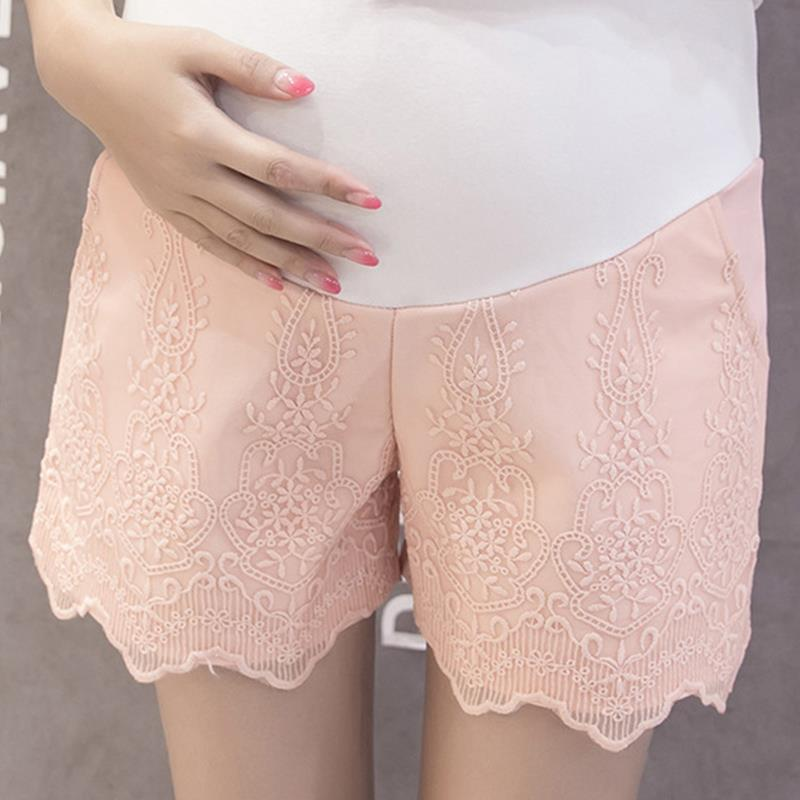 Summer Fashion Maternity Elastic Waist Belly Splice Lace Shorts For Pregnant Women Pink  ...