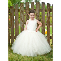 Kids Girl Milk White Lace Sleeveless Wedding Party Pageant Dress Princess Gorgeous Vintage Tutu Dress for Photo Props Two Pieces