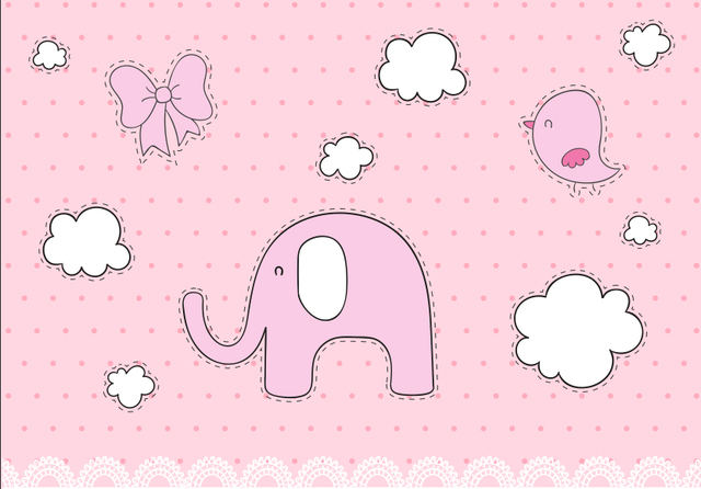 7x5ft Light Pink Polka Dots White Clouds Elephant Girl Baby Shower