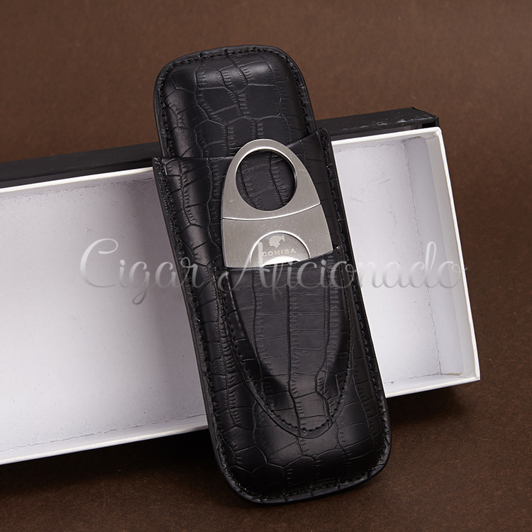 COHIBA Portable Black Croco Embossed Leather Cigar Case Travel Holder 2 Tube W Sharp Dual Blades