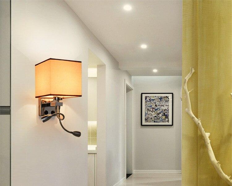 Moderna breve applique da parete letto tessuto comodini luce w
