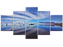 5 Panel Snow Mountain Landscape Painting Canvas Printing Modern Home Wall Decor Picture for Living Room Framed J009-061